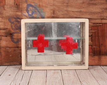 First aid kit - Wall first aid kit circa 60's - Home medicine chest - Medicine cabinet - Wall medicine chest - Red Cross Wood medicine chest