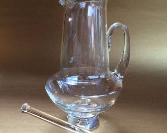 Elegant Blown Glass Martini Cocktail Pitcher Bar Shaker