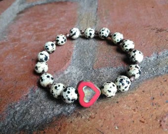Valentine's day, heart bracelet, Dalmatian Jasper, stretch bracelet, gift for her, friendship gift, girlfriend gift, spotted, polka dot