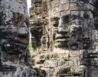Angkor Thom | Siem Reap, Cambodia~ Ruins, ancient, hindu, architecture, face, Angkor wat, carving, rock, stone, Cambodian, temple,
