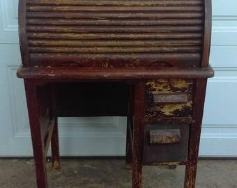 antique vintage childs roll top desk wood original condition - Rolltop Desk