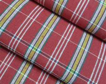 Vintage cotton yukata fabric- red, yellow and green plaid - by the yard