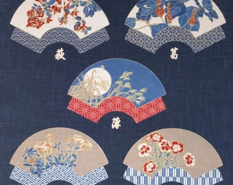 New Japanese cotton Noren quilting panel cloth -floral folding fans