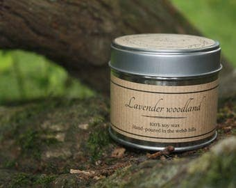 lavender woodland scented soy wax candle