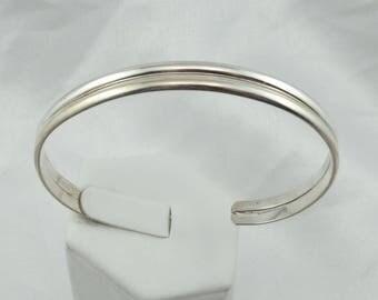 Collectable Martha Smiley Navajo Artisan/Silversmith Simple Sterling Silver Cuff Bracelet #SMILEY-CF3