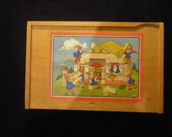 Vintage Wood Building Blocks in Wood Storage Box (100+ pieces)