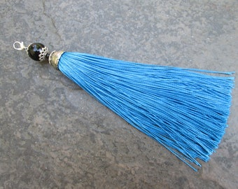 """Extra Long Silky Blue fabric tassels with decorative silver cap and glass bead 6"""" tassel charms"""