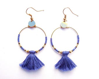 hoop earrings gold and blue beads and tassel