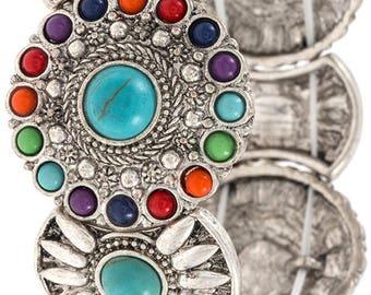 Floral Gemstone Pave Link Bracelet