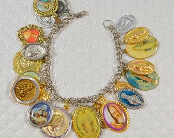 OOAK Religious Medal Charm Bracelet OOAK Religious Jewelry Artist Original Crazy Aunt Designs Design Religious Assemblage Bracelet