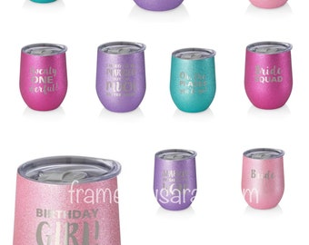 SWIG 12oz or 6oz Celebrations Stainless Steel insulated Wine Cups or Champagne flutes with lids