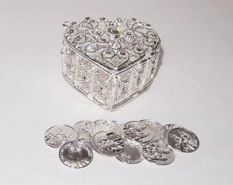 """Silver Rhinestone Wedding Arras Heart Shape Box Set Wedding Unity Coins, Wedding Arras, Arras de Boda, Wedding Coins, 2.25"""" X 1.5"""" X 2"""""""