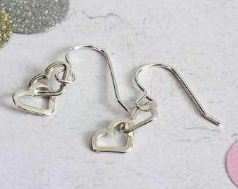 silver earrings, entwined hearts, double heart drop earrings, linked hearts, gift for her