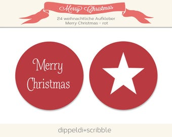 Stickers of merry christmas Star Red