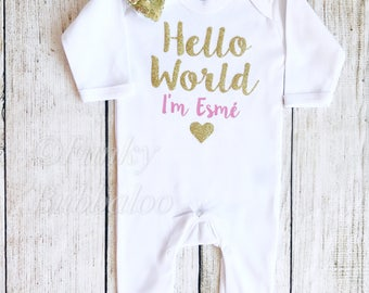 Personalised Hello World Newborn Outfit - Baby Pink Bodysuit & Hat - Going Home, Photoshoot, Photo Prop, Baby Shower Gift Rompersuit