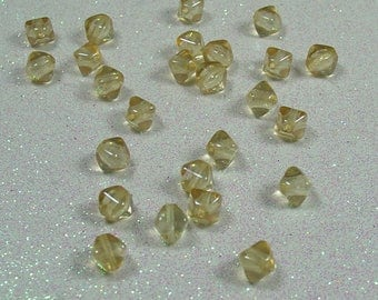 PYRAMID BEAD DOUBLE 6MM TOPAZ GOLD LUSTER BOHEMIAN GLASS