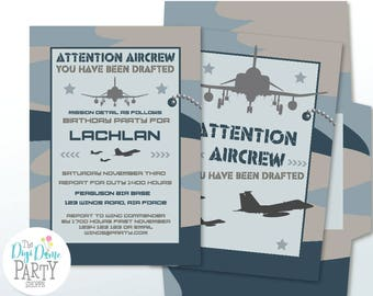 Military Air Force Printable Party Invitation in Blue Camouflage, 5x7in. Instant Download