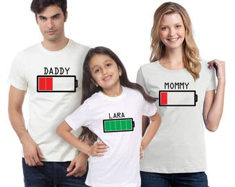 Battery Shirts, Family shirts, Family tee shirts, Matching family shirts, Mom low battery, Family gifts, Personal shirts