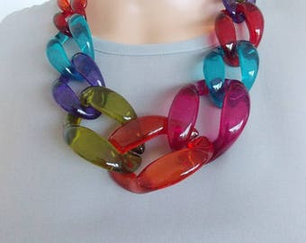 Chunky Multi-Coloured Chain Link Statement Necklace