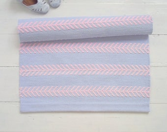 Nursery Rug, Blue Pink Rug, Scandinavian Nursery Rug, Kids Rug, Bedroom Rug, Handmade, Washable, Woven on the Loom, Ready to Ship
