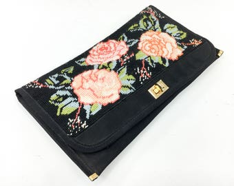 60s Needlepoint Purse | Black Floral Embroidered Handbag
