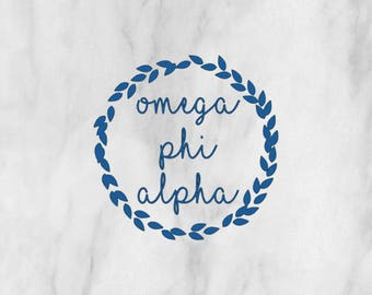 Sorority Omega Phi Alpha Wreath Decal