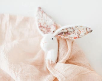 Lovely Bunny Comforter, Doll, Lovey, Teething Soother for Babies and Toddlers, Super Soft And Cuddly, Organic Muslin, Special Keepsake, Gift