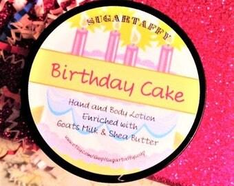 Birthday Cake Body Lotion, Handmade Lotion, Birthday Gift For Her, Goat Milk Lotion