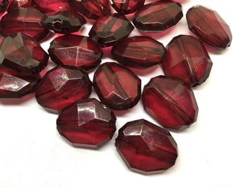 Maroon faceted beads, 26mm beads, red beads, textured maroon large beads, red jewelry, maroon necklace, oval maroon beads