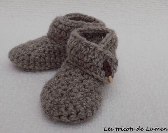 Booties newborn crochet baby booties acrylic Brown button ice Eskimo hand made polymer clay