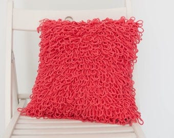 Crochet Fringe Cushion . Watermelon Red | Crochet Cushion | Throw Pillow | Decorative Pillow | Pink | Accent Pillow | Sofa Cushion