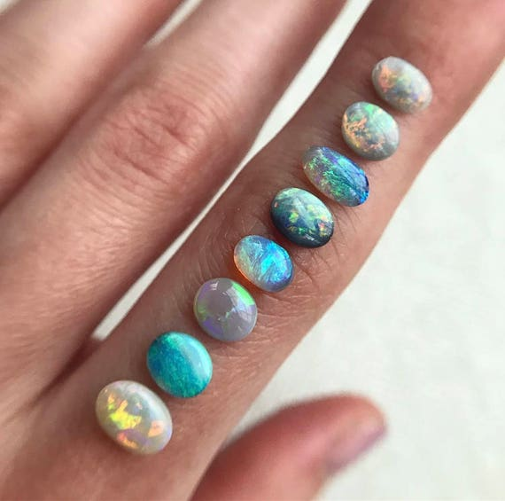 Australian Opal rings; Sterling silver Opal ring; 14K yellow gold Opal ring