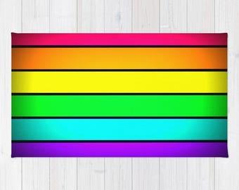 Area Rug, Pink Rainbow Rug, Rainbow Striped Rug, Woven Area Rug, Colorful Rug, Striped Rug, 2x3 Rug, 3x5 Rug, 4x6 Rug , Accent Rug