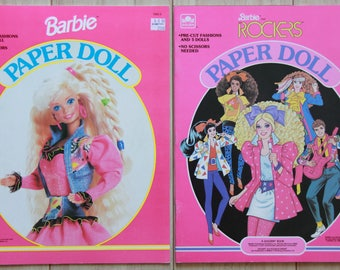 Vintage Barbie Paper Doll Books 1986 and 1992 UNUSED dolls and fashions.