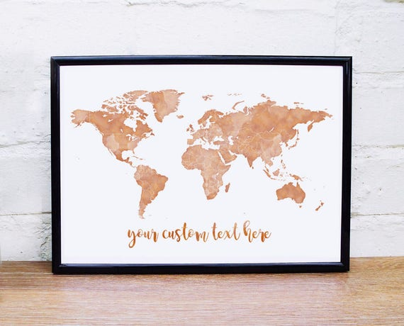 Copper wall art gold world map print custom quote rose gold like this item sciox Gallery