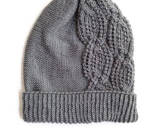 Gray Cabled Slouchy Winter Knit Hat | Women's | Winter Gifts