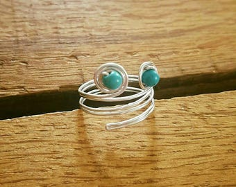 Wire wrapped ring, turquoise ring, wire wrapped jewelry, statement ring, gift for her, birthday gift, birthstone ring