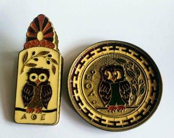 Two vintage Greek owl souvenirs