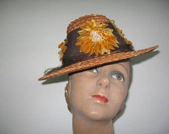 1930's Straw Chimney Tilt Hat!