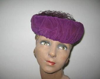 1930's-40's Amethyst Velvet Turban Toque!