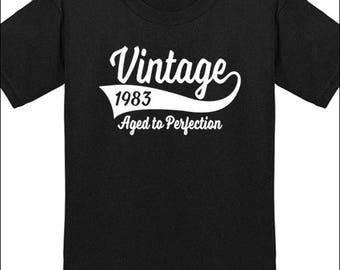 35th Birthday T Shirt Vintage 1983 T-Shirt Milestone Birthday Party Gift