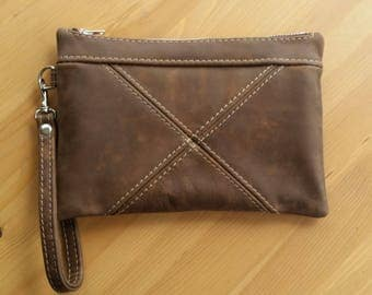 Leather clutch bag, brown leather wristlet