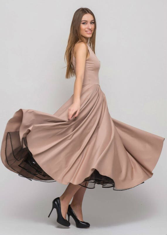 Maxi Beige dress elegant dress Occasion dress Prom dress