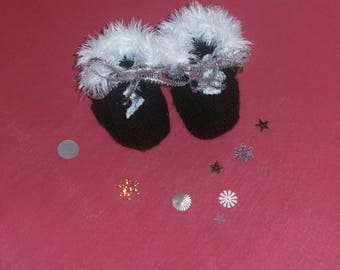 black and white fur baby booties