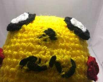 Pokémon picacu , winter hat for kids . Hand crochet . Smoke free home