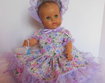 Lilac Floral Print Dress Set for Sun Rubber 17 Inch Bannister Baby Dolls