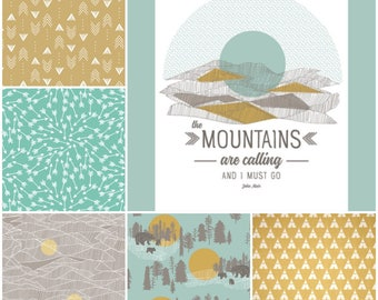 Custom Crib Bedding Set, Made to Order, Woodland, The Mountains are Calling, gray, mint, mustard yellow
