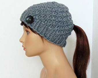 Gray Ponytail Hat Knit Beanie with Low Pony Tail Hole Hat Running Hat with Ponytail Hole Gift for Her Made in Alaska Pony Tail Hat
