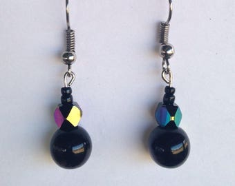 Black Iridescent glass Beaded Dangle Earrings, hypoallergenic fish hooks