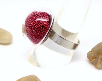 ring silver Pearlescent red globe small model